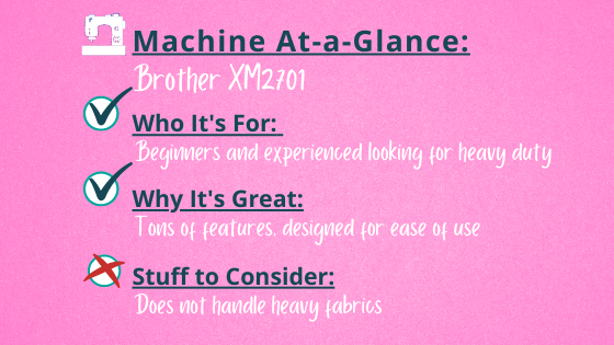 Brother XM2701 At-a-Glance