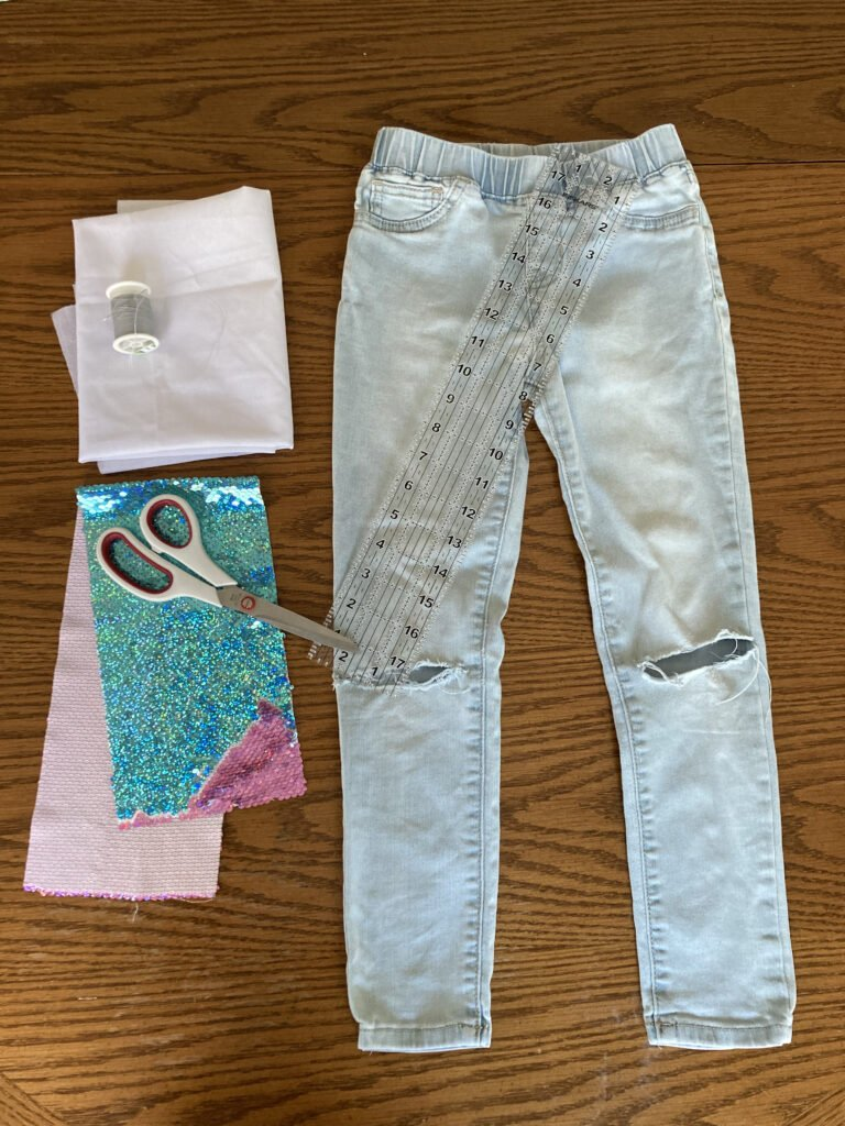 Sequin Fabric Jeans