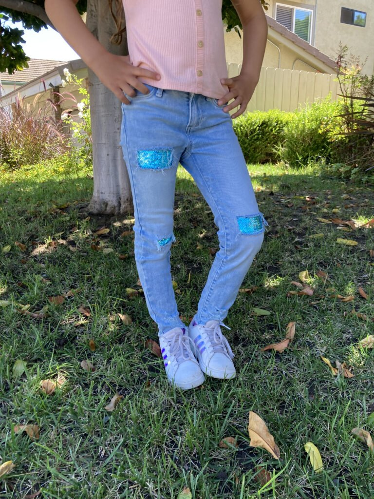 Embellish Jeans with Mermaid Sequin Fabric